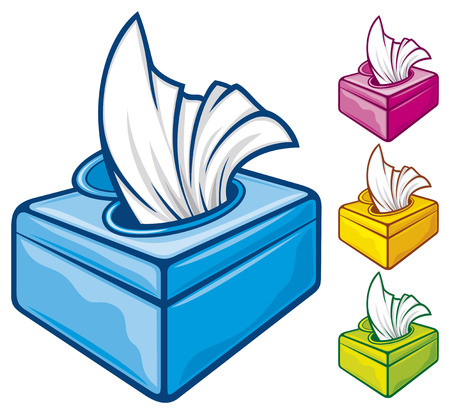 facial tissue: tissue boxes  box of tissues, box of wipes