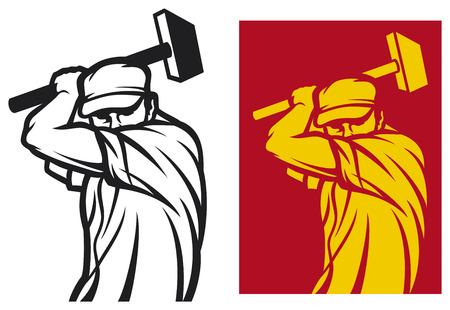 Arbeitnehmer, die eine Hammer Bauarbeiter, werktag Design, männliche Arbeiter mit Hammer Standard-Bild - 23476441