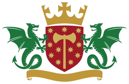 coat of arms - dragons, shield, crown and banner Vector