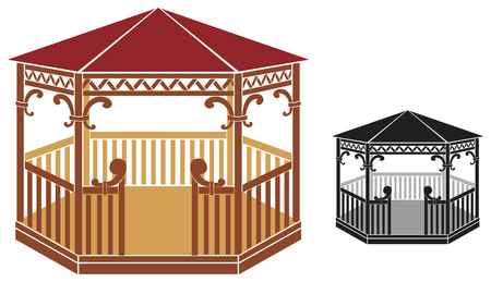 outdoor seating: wooden gazebo Illustration