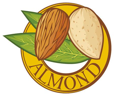 ядра: миндаль с листьями этикетки символ миндального ореха, миндальное знак