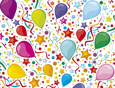 kids birthday party: birthday background with party streamers and confetti  colorful party balloons, birthday party design, children s party design, kids party background