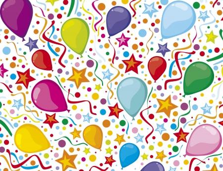 globos de fiesta: fondo de cumplea�os con serpentinas y globos de fiesta de colores confeti, dise�o de la fiesta de cumplea�os, dise�o partido de los ni�os, los ni�os s de fondo del partido