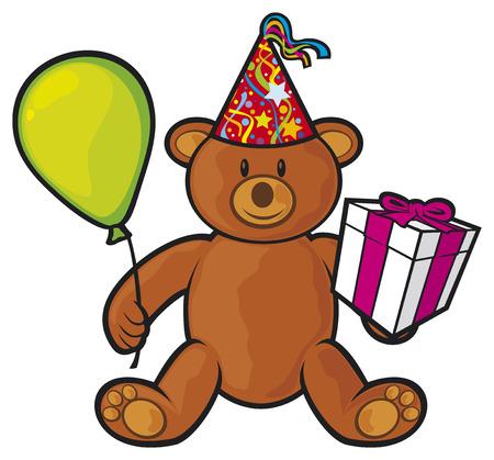 cute bear: teddy bear toy with gift box, birthday hat and balloon  cute bear, teddy bear  Illustration