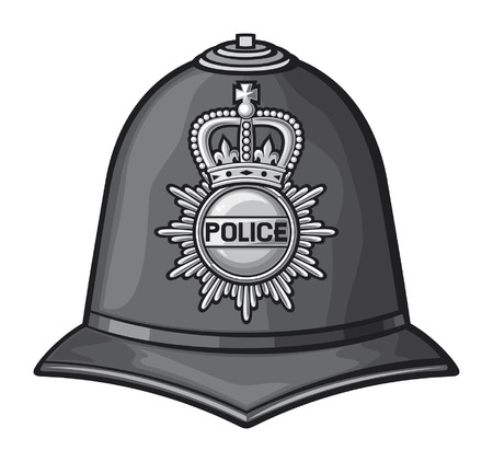Britse politie helm Britse bobby politie helm Stock Illustratie