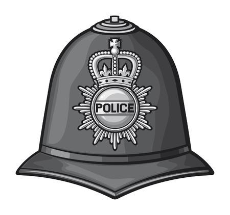 gorra polic�a: casco de polic�a brit�nico brit�nico casco polic�a bobby Vectores