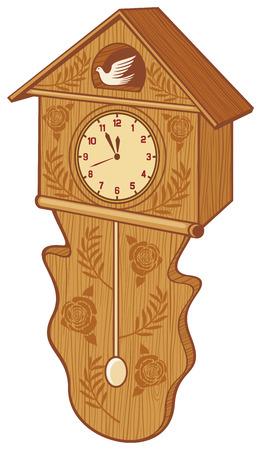 reloj cucu: reloj de pared del p�jaro del reloj de cuco de madera Vectores