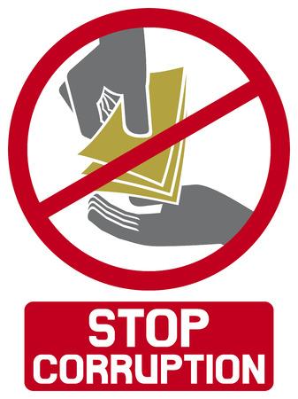 señal de stop corrupción símbolo corrupción parada, mano dar dinero a otra parte Ilustración de vector