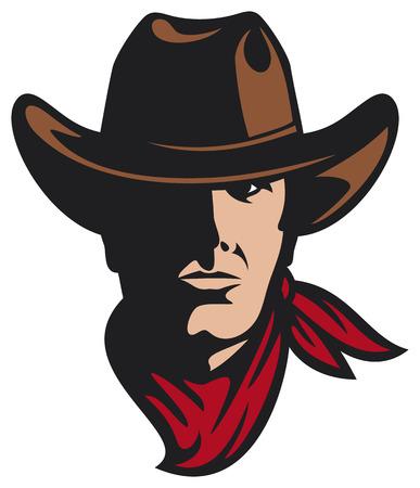 American Cowboy Cowboy Kopf in der Hitze, Cowboy-Maskottchen Standard-Bild - 24391853