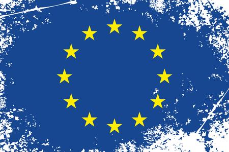 eu flag: european union grunge flag  eu grunge flag background  Illustration