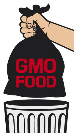 throw away: hand holding black plastic trash bag with GMO food  no GMO design, hand throwing trash bag in a trash bin