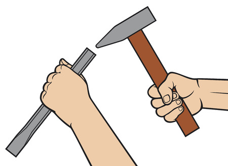 hands holding a hammer and chisel  hammer in hand, chisel in hand  Stock Vector - 24391930