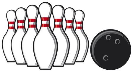 bowling pin: bowling pins and bowling ball Illustration