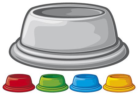 bowl for animals  dog bowl, pet food bowl  Illustration