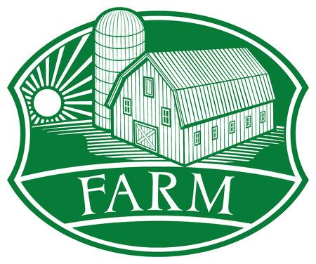 granary: simbolo fattoria stalla e silo, fienile e granaio, etichetta fattoria Vettoriali