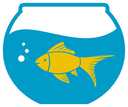 alga: goldfish in a bowl  bowl and fish, golden fish in aquarium  Illustration