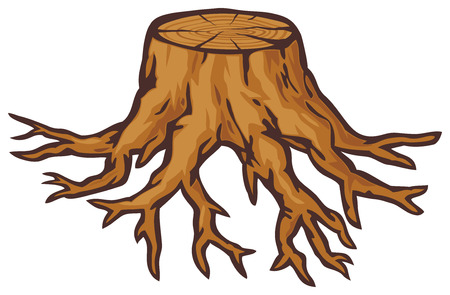 old tree stump with roots Vector