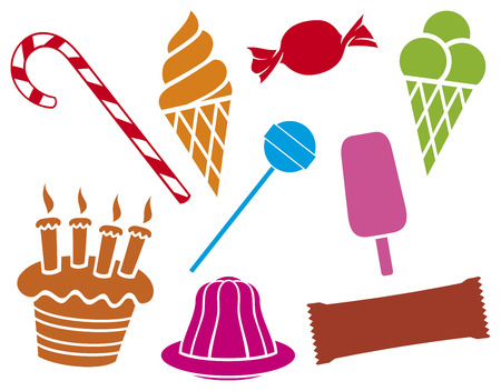 sweets and candies collection  pudding in dish, birthday cake with candles, ice cream, package for chocolate, candy, candy cane, lollipop  Vector