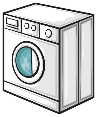 lavadora con ropa: lavadora Vectores