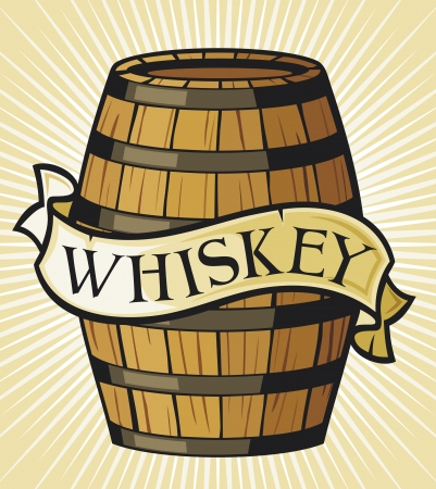 root beer: whiskey label  wooden barrel  Illustration