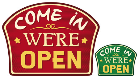 shop opening hours: come in we are open sign  come in we re open symbol