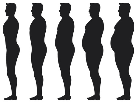 diet beauty before and after  man losing weight transformation, a man diets and exercises from fat to fitness in before and after, before and after diet men silhouettes   Vector