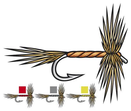 fluga: flugfiske flugor flugfiske, flugfiske drag, fiske handgjorda flugor Illustration