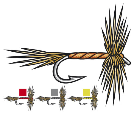 lure fishing: pesca a mosca mosche pesca a mosca, mosca richiamo di pesca, pesca a mano fatto in linea Vettoriali