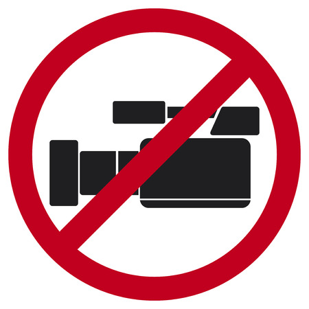 do not record video sign  no video allowed sign, do not record video icon, no video cameras public sign  Vector
