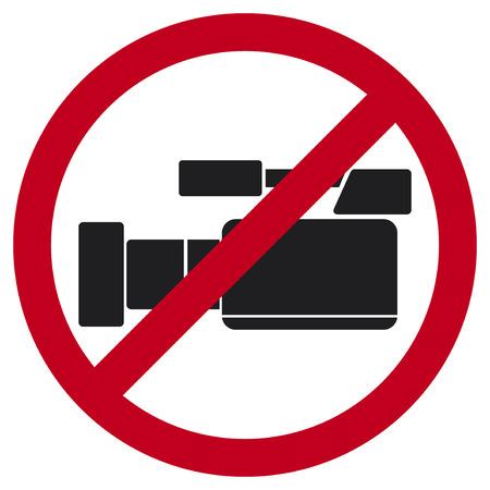 nicht aufzeichnen Video-Zeichen kein Video erlaubt Zeichen, keine Videosymbol nicht aufnehmen, keine Videokameras öffentliches Zeichen Illustration