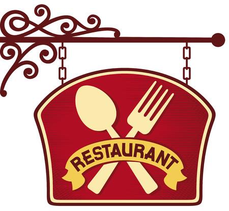 banquet table: restaurant sign  restaurant symbol, restaurant plate hanging, signboard restaurant symbol