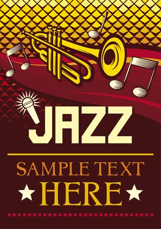 show time: jazz poster,  jazz party poster, the concert poster  Illustration