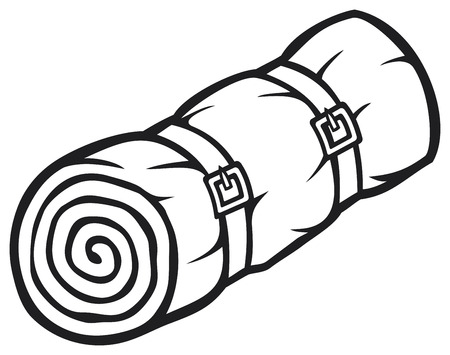 sleeping bag: sleeping bag  bed roll, camping sleeping bag, rolled sleeping bag  Illustration