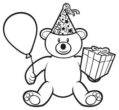 teddy bear toy with gift box, birthday hat and balloon  cute bear, teddy bear  Vector