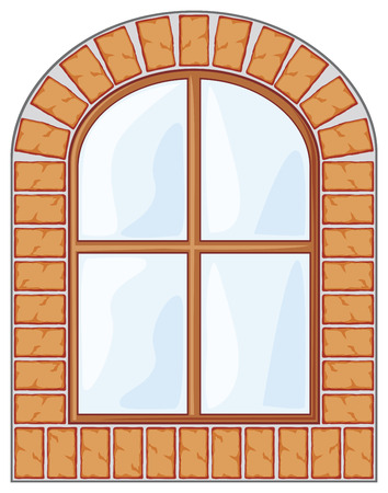 wooden window: wooden window on brick wall