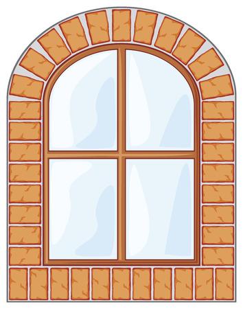 wooden window on brick wall Vector