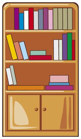 books on wooden shelves,  bookcase  Vector