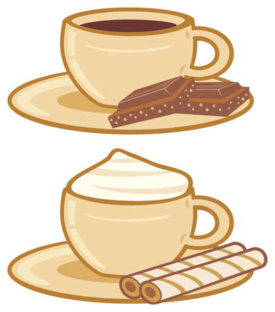 teacups: cups of coffee with a chocolate, cups of coffee with cream  Illustration