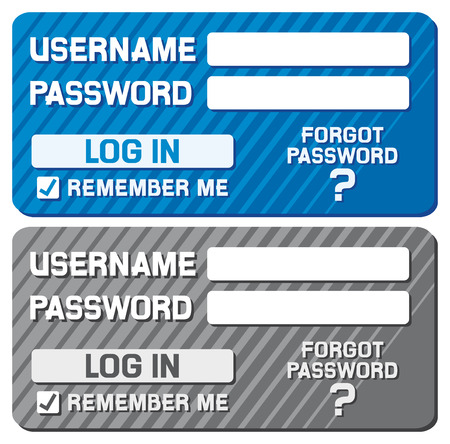 username: log in form with username and password fields  registration form design  Illustration