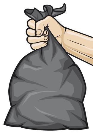 hand holding black plastic trash bag  hand holding garbage bag  Vector