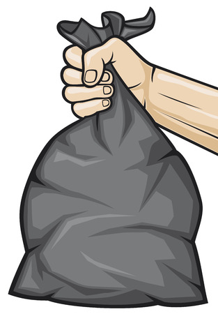 hand holding black plastic trash bag  hand holding garbage bag  Vector