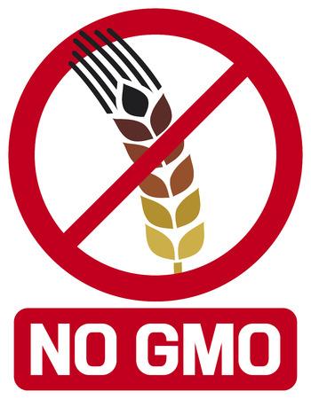 gmo: no GMO label  GMO prohibited sign, stop genetically modified foods icon  Illustration