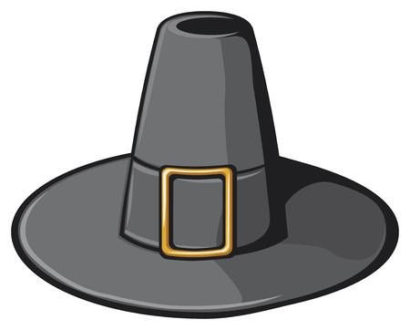 pilgrim: black pilgrim hat Illustration