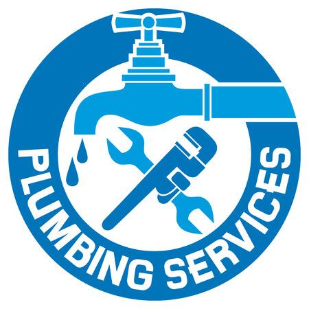 修復配管記号給排水設備と配管設計ビジネスを修復配管ラベル、配管記号、配管のアイコンを修復し、給排水設備と配管設計ビジネス印の修理  イラスト・ベクター素材