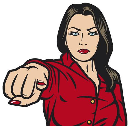 손가락으로 가리키는 당신이 그녀의 손가락을 가리키는 당신의 아름다움 소녀 가리키는 팝 아트 여자, 팝 아트 여자