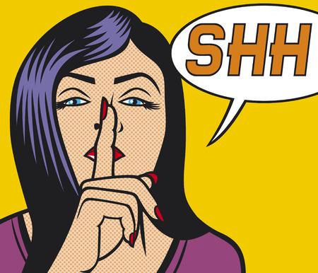 donna con il segno di silenzio pop art illustrazione della ragazza chiede il silenzio pop art illustrazione