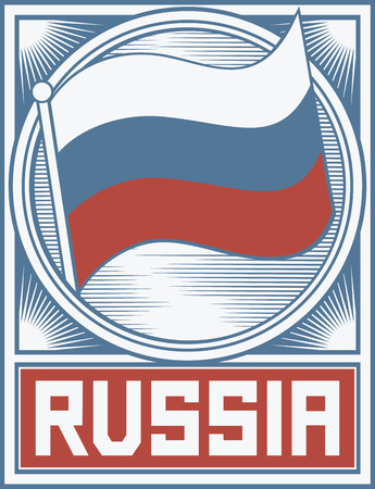 federation: russia flag poster  russian federation flag  Illustration