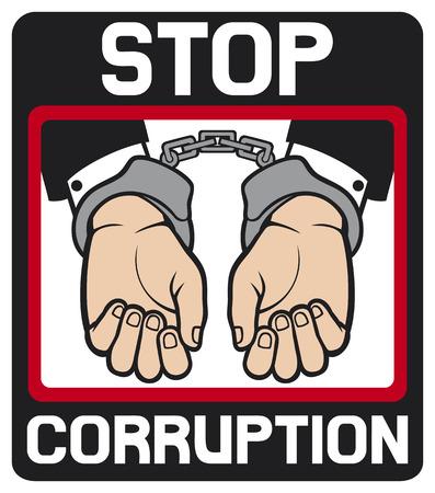 incarceration: esposas en las manos - se detienen la corrupci�n s�mbolo corrupci�n parada, el hombre las manos con esposas
