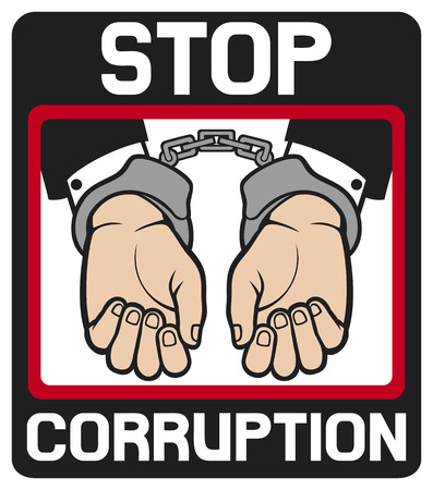corruption: hands in handcuffs - stop corruption sign  stop corruption symbol, man hands with handcuffs