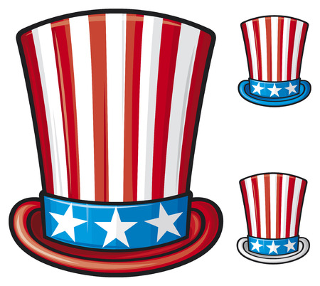 usa top hat  uncle sam top hat, top hat for independence day  Vector